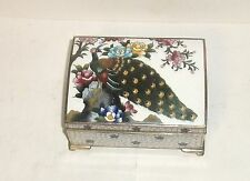 RARE INABA CHERRY BLOSSOM PEACOCK CLOISONNE ENAMEL MUSIC JEWELRY BOX SIGNED