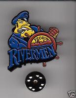 PEORIA RIVERMEN ECHL SPHL Team Illinois Hockey Logo HAT LAPEL PIN New Sealed