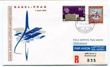 FFC 1970 Posta Razzo Basel Prag REGISTERED Helvetia Luftpost
