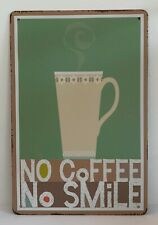 Tin Sign No Coffee No Smile Kitchen Quotes Retro Metal Wall Signs Plaques Decor