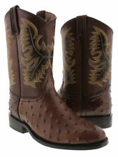 Mens Ostrich Pattern Western Cowboy Boots Real Leather Roper Toe Brown Size 7