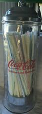 Vintage 1992 Coca Cola Glass Straw Holder Dispenser approximately 11 inches tall
