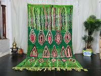 "Moroccan Handmade Boujad Berber Rug 5'4""x8'9"" Gometric Green Wool Berber Carpet"