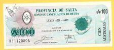 Argentina, provincia de Salta 100 cien australes