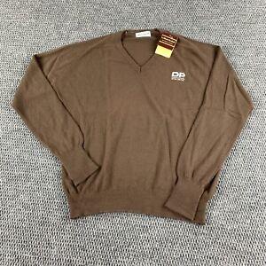 NWT Vintage LaMode Du Golf Mens V Neck Orlon Long Sleeve Sweater Large Brown