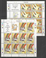 MALTA 1995 EUROPA PEACE & FREEDOM SHEETLET SG,987-988 UM/M NH LOT 125L