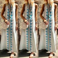 UK Womens Summer Long Split Dress Holiday Beach Ladies Loose Kaftan Size 8-24