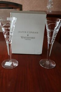 "2 Waterford Crystal ""Aura"" Champagne Flutes by Jasper Conran + box 26cm tall"