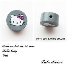 Perle en bois de 20 mm Perle plate Hello kitty Gris