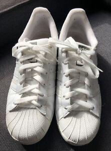 Adidas Superstar White & Khaki Green Ladies UK Size 6 Trainers - preowned