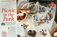 CROSS STITCH PATTERN Butterfly Design Tablelinen Tablecloth + Napkins CHART ONLY