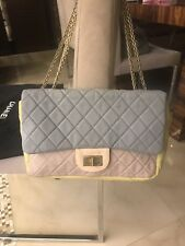 CHANEL TRI COLOUR MICROFIBRE JUMBO FLAP BAG WITH AUTH