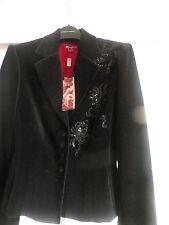 BNWT Monsoon Black Cotton Velvet Beaded Fitted Blazer Evening Jacket Size 8