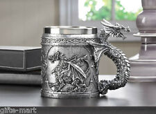 pewter medieval mug stainless steel cup winged serpent dragon handle statue L