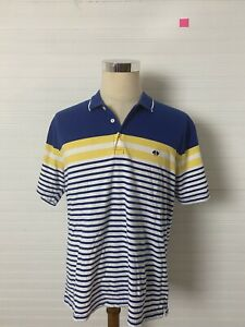 Brooks Brothers Men's St Andrews Links Polo Golf Shirt Large Striped EUC