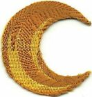 Yellow Gold Lunar Waning or Waxing Crescent Moon Embroidery Patch