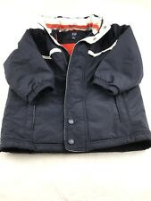 Baby Gap Boy button Zip-Up Lined thick Hooded jacket Blue  Size 4T