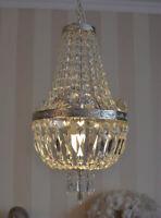 Antikstil Deckenlampe Lüster shabby chic Kristallleuchte Kronleuchter Silber neu