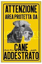 AIRDALE TERRIER AREA PROTETTA TARGA ATTENTI AL CANE CARTELLO PVC GIALLO
