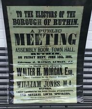 More details for authentic antique victorian political poster electors of borough of ruthin 1895