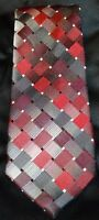 VAN HEUSEN Gray Red Silver Geometric Pattern Neck Tie 100% Silk