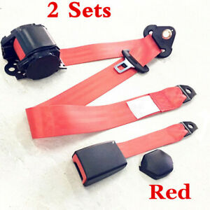2 Sets Red 3 Point Universal Seat Belt Car Accessory Car Belt Adjustable Safety