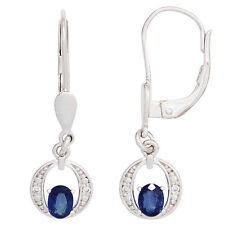 Ohrhänger 2 blaue Safire 4 Diamanten 585 Gold Weißgold Ohrringe Boutons 42493