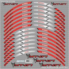 YAMAHA MT-07 Motorcycle Bike Wheel Rim Red Laminated Stripes Decals Stickers Kit