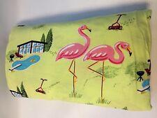 Vintage Nick & Nora Cotton Jersey Twin Flat Sheet Pink Flamingos PoolSide