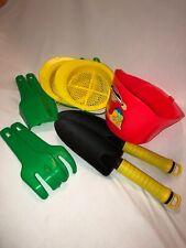 9 Pc Lot Kids Beach Sand Play Bucket Shovels Rakes Sifters Red Yellow Green EUC
