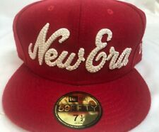 New Era 59fifty 7 1/2 Cap SnapBack Red Cap White Writing #397