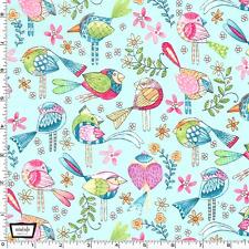 By 1/2 Yd Michael Miller Cotton Fabric ~ Tweet Me in Aqua ~ Cute Birds