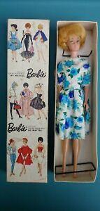 Original Vintage Mattel 1960 1962 Bubble Cut Blonde Barbie Doll Box Flower Dress