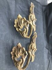 Pair Of Smaller Flourished Late 1800S French Gold Gilded Curtain Tiebacks