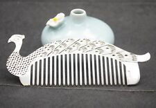 Peacock Shape Hair Comb 130mm L New Pure 999 Sterling Silver Comb Artwork