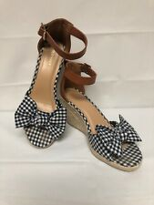 0d6bcd99c846 Old Navy Blue White Gingham Bow Strappy Espadrille Sandal Wedges Shoes Size  8
