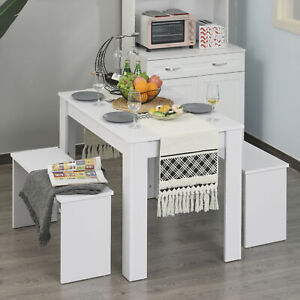 3 Pcs Modern Dining Table Set w/ Table 2 Bench Seats Compact Kitchen Home