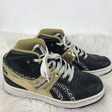 bd6c876f3c84 Reebok Womens Shoe Black Gold Leather Leopard Print High Top Sneakers EU40 9