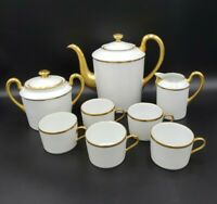 Raynaud Limoges White & Thick Gold 8pc Coffee Pot Set C&S Cups EXCEPTIONAL
