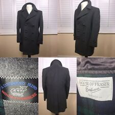 Mens Vintage 44R Grey Wool & Cashmere Peacoat Reefer Coat Jacket