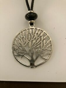 Big Long Pendant Black Agate Silver 40mm Tree Of Life With Black Cord