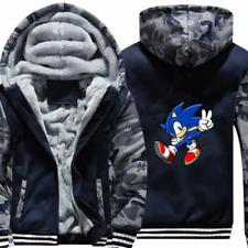 Anime Sonic the Hedgehog Hoodie Zip Sweatshirt Thick Warm Fleece Coat @