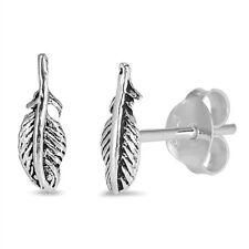Sterling Silver Feather Stud Earrings, 8 mm