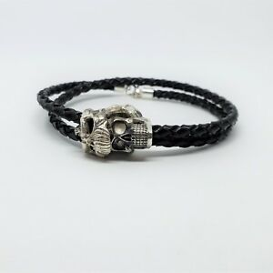Sterling Silver Solid 925 Skull Dark Army Braided Black Rope Bracelet Biker