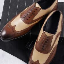 Ermenegildo Zegna Brown and Tan Wingtip Oxfords US 9 Dress Shoes NIB