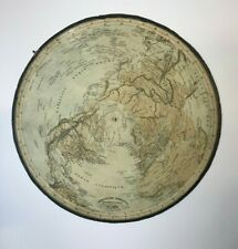 FLAT-GLOBE TERRESTRAL HEMISPHERE 1867 by P.J. JAGER 2 MAPS CENTERED ON POLES