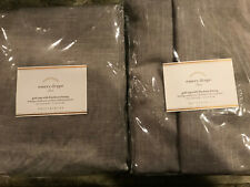 """Pottery Barn Set of 2 Emery Linen/Cotton Poletop Blackout Curtains 108"""" Gray NEW"""