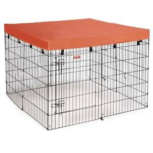 Dog Excercise Pen Covers Orange Square Canvas Tarp Heavy Duty Pet Shade Covering