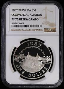 1987 Bermuda Proof Silver $1 Dollar NGC PF70 ULTRA CAM Commercial Aviation POP 1
