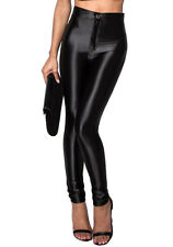 New Womens HIGH WAISTED STRETCHY SHINY DISCO Leggings Black PANTS 6 8 10 12 14